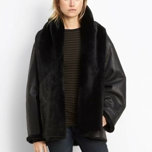 Vince Reversible Hooded Shearling Leather Fur Coat